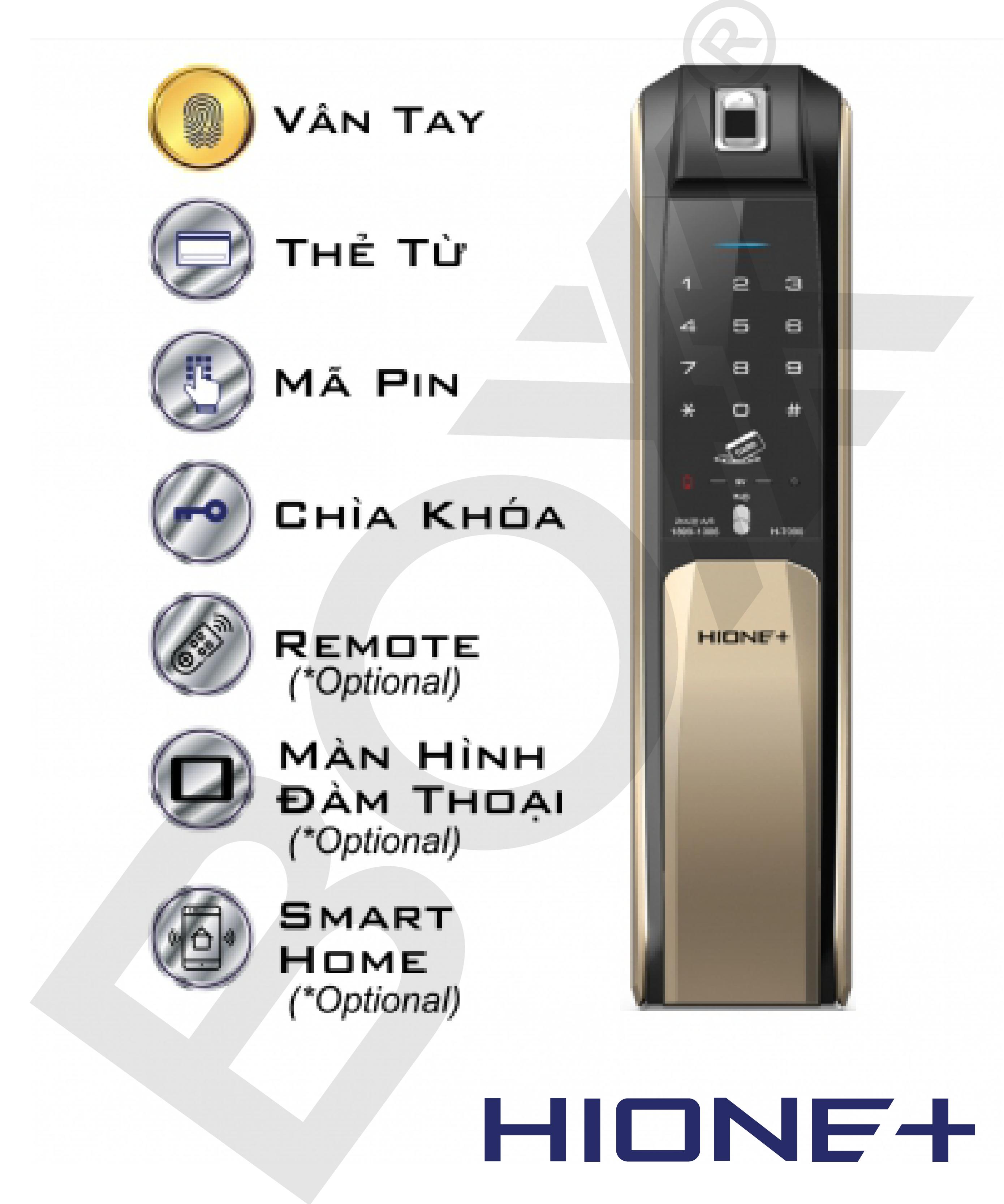 Khóa kéo đẩy vân tay/ thẻ từ/ mật khẩu H-7090