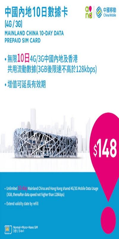 Sim du lịch TRUNG QUỐC - HONGKONG 3GB
